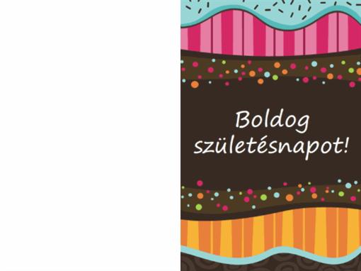 Születésnapi kártya pontokkal és csíkokkal (gyerekeknek, félbe hajtott)