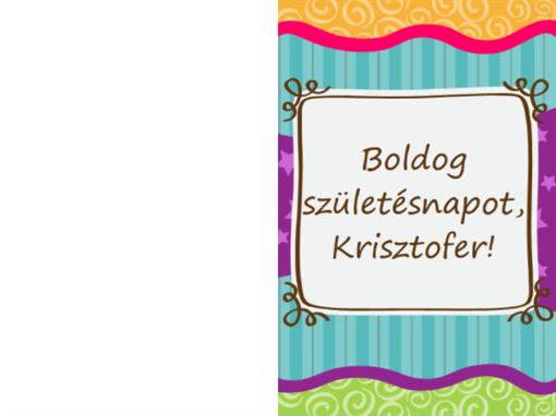 Születésnapi kártya csillagokkal és csíkokkal (gyerekeknek, félbe hajtott)