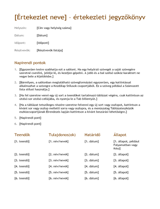 Értekezleti jegyzőkönyv (egyszerű)