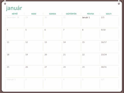 Klasszikus falinaptár (hétfő–vasárnap, kétgyűrűs arculat)