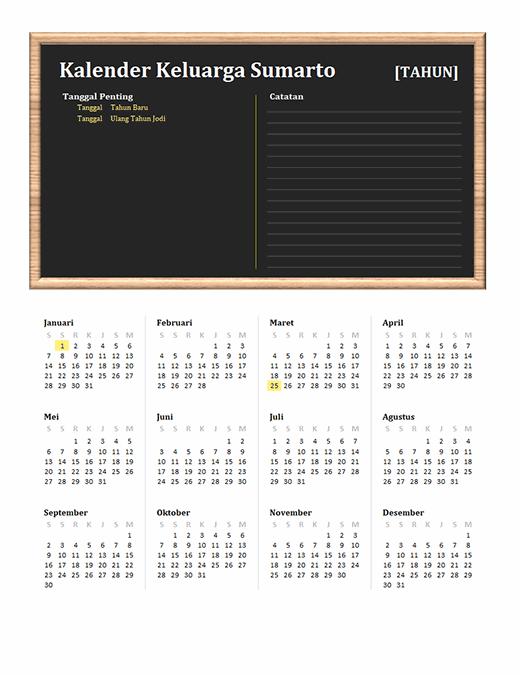 Kalender keluarga (semua tahun, Sen-Min)