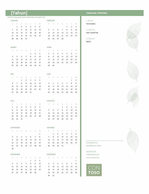 Kalender bisnis kecil (tahun berapa pun, Sen-Min)