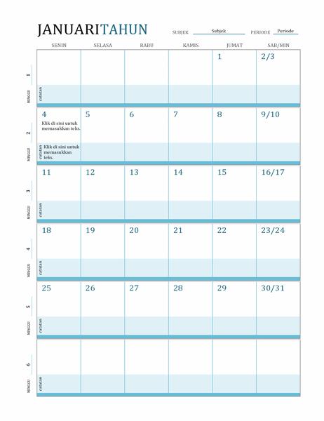 Kalender rencana pelajaran