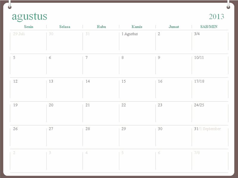 Kalender akademis 2013-2014 (Agustus)