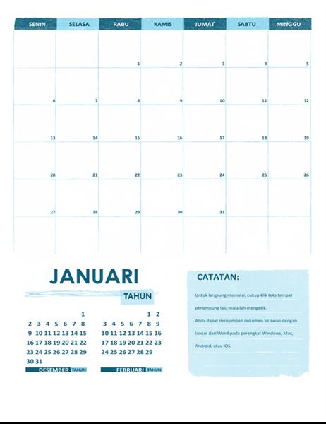 Kalender akademik (satu bulan, tahun kapan saja, diawali hari Senin)