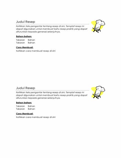Kartu resep (2 per halaman)
