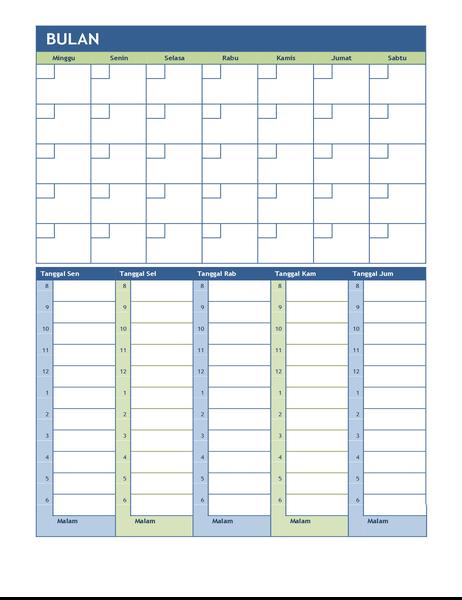 Kalender perencanaan bulanan dan mingguan