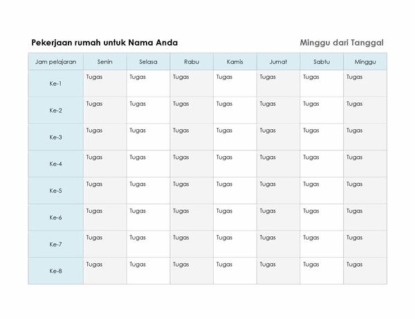 Jadwal pekerjaan rumah mingguan