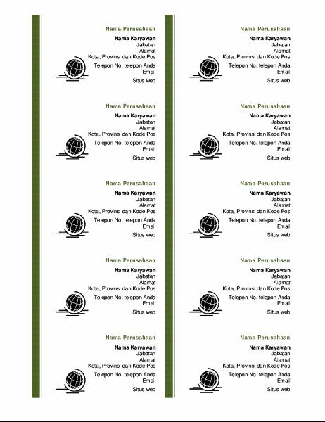 Kartu nama bisnis (10 per halaman)