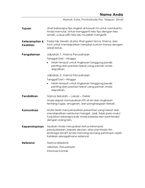 Resume fungsional (Desain minimalis)