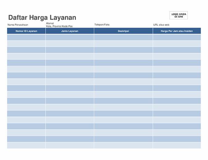 Daftar harga layanan