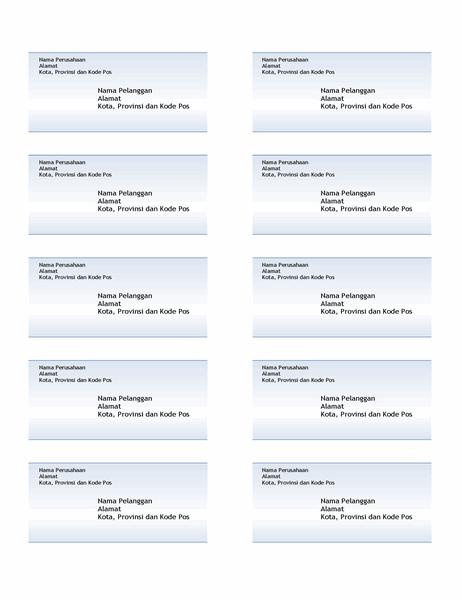 Label pengiriman (desain Gradien Biru, 10 per halaman)