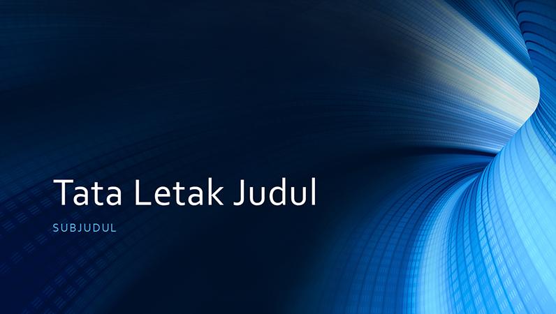 Presentasi bisnis dengan terowongan digital biru (layar lebar)