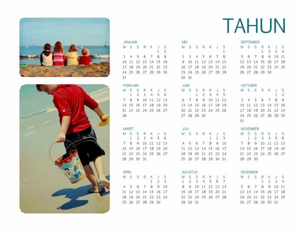 Kalender foto keluarga (semua tahun, 1 halaman)