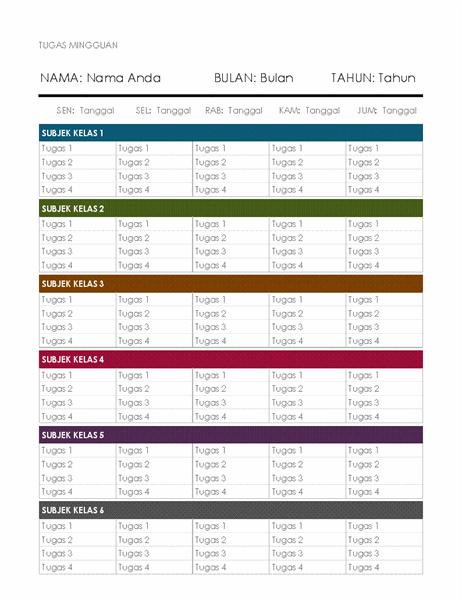 Kalender tugas mingguan