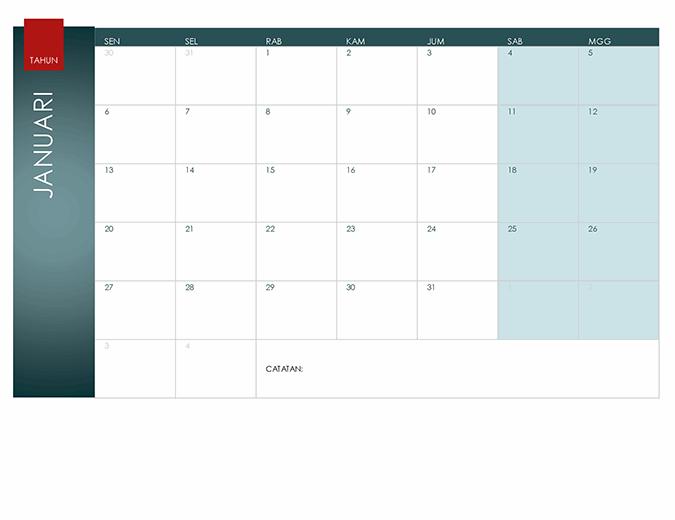 Kalender semua tahun (Tema Ion)