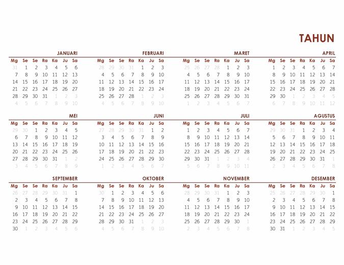 Kalender global setahun penuh