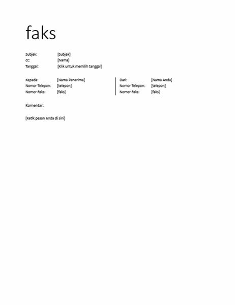 Lembar sampul faks (informal)
