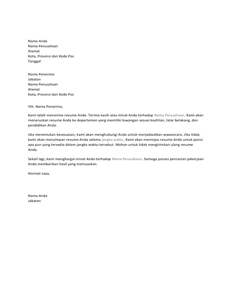 Surat konfirmasi tanda terima kepada pelamar pekerjaan