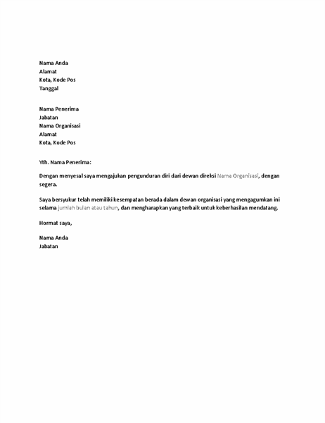 Surat pengunduran diri dari dewan