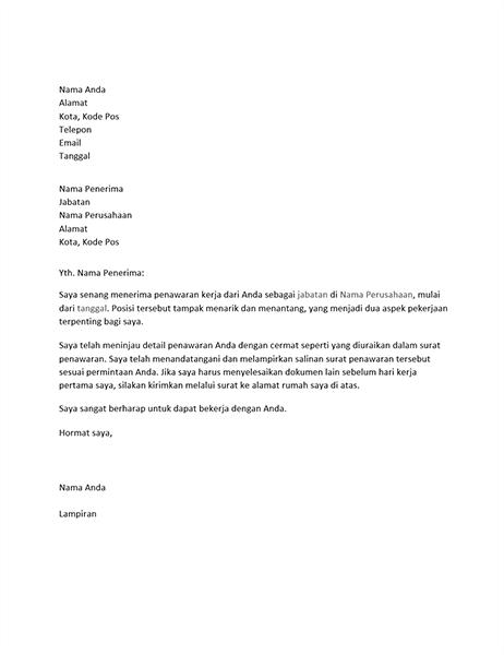 Surat penerimaan penawaran kerja