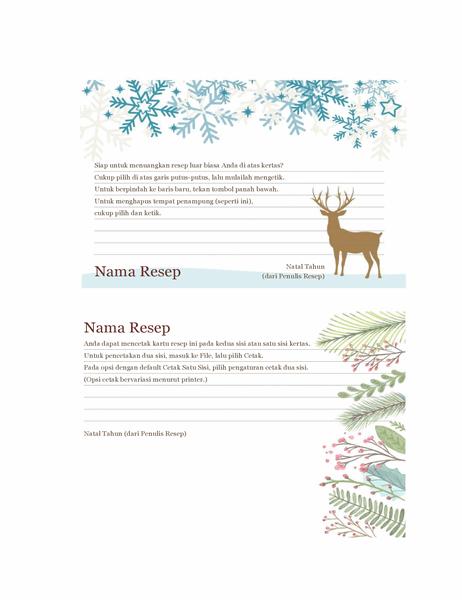 Kartu resep (Desain Semangat Natal, dapat dicetak pada kertas Avery 5889, 2 per halaman)