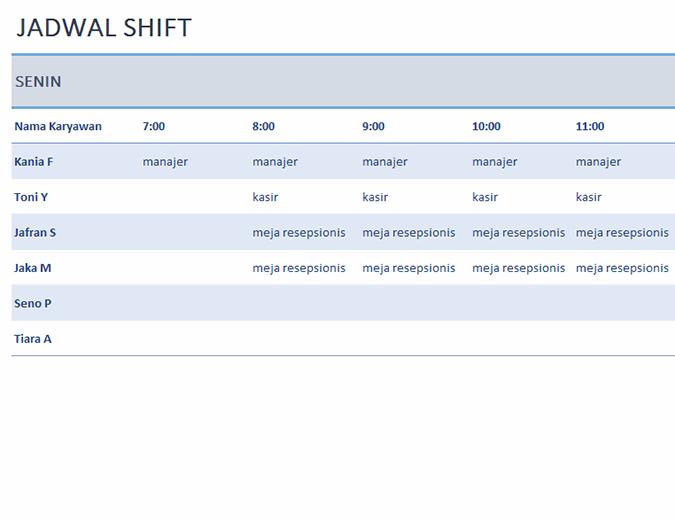 Jadwal shift karyawan mingguan