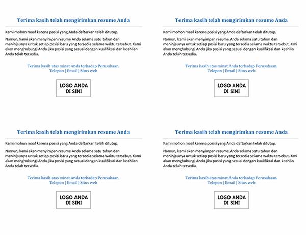 Kartu pos untuk kandidat pekerjaan ketika posisi telah ditutup (4 per halaman)