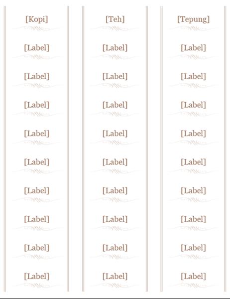 Label toples (desain Perabotan, 30 per halaman, cocok dengan Avery 5160)