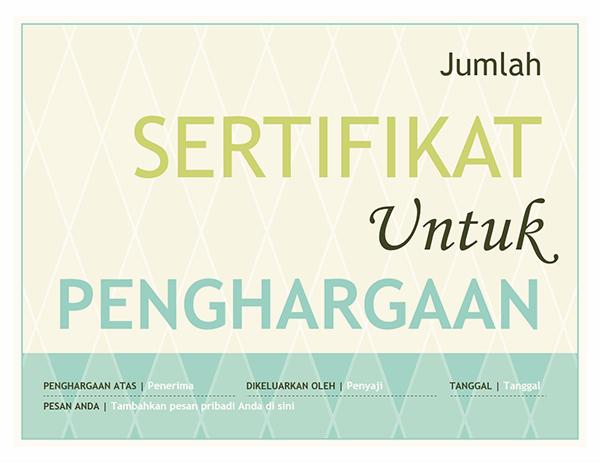Penghargaan sertifikat hadiah (desain harlequin)