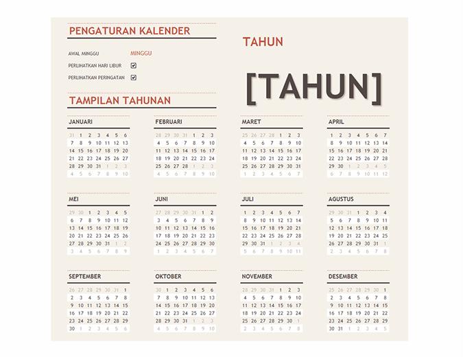 Kalender tahun apa pun dengan hari libur