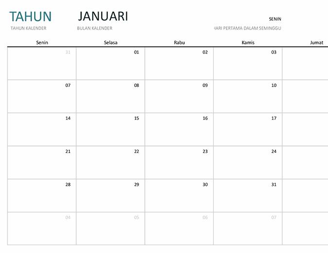 Kalender satu bulan tahun bebas
