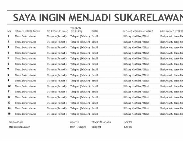 Daftar sukarelawan