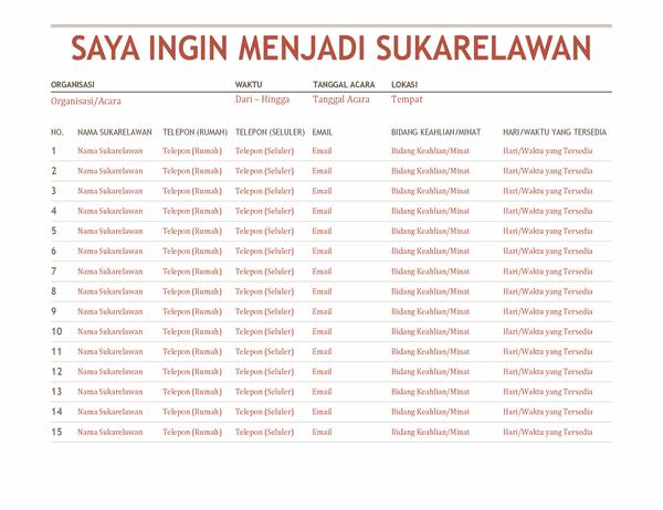 Lembar pendaftaran sukarelawan