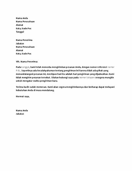 Surat memberitahukan pelanggan tentang pengiriman yang terlewat