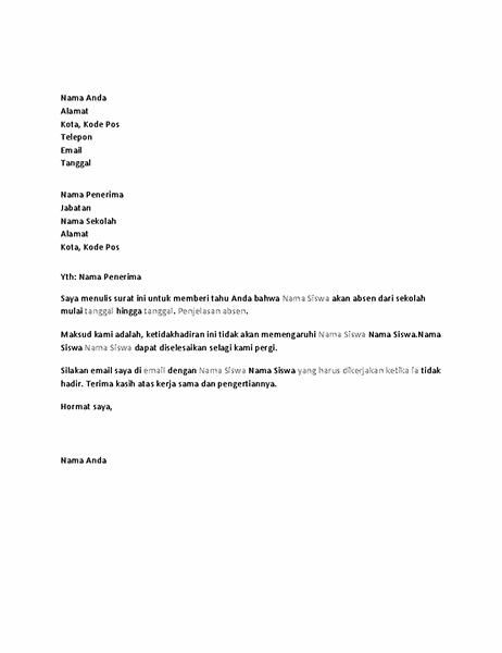 Surat yang memberi tahu sekolah tentang izin ketidakhadiran siswa