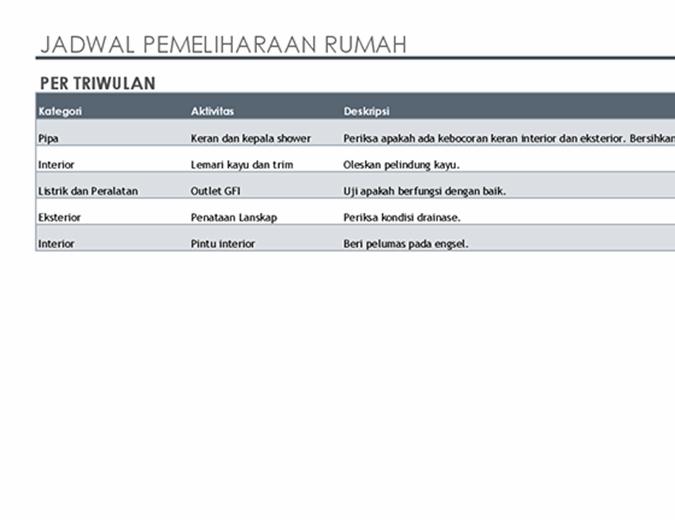 Jadwal dan daftar tugas pemeliharaan rumah