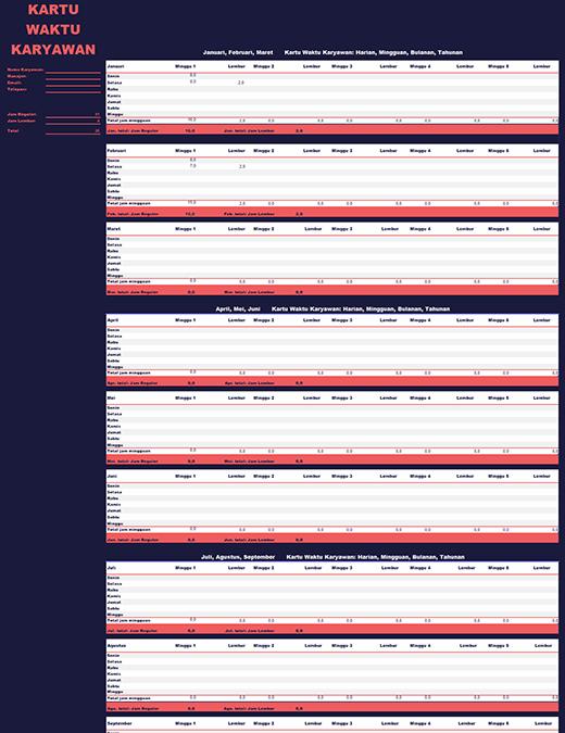 Lembar waktu karyawan (mingguan, bulanan, tahunan)