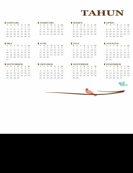 Kalender tahunan burung (Sen-Min)