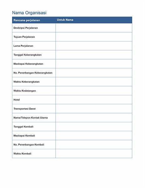 Rencana perjalanan bisnis dengan jadwal rapat