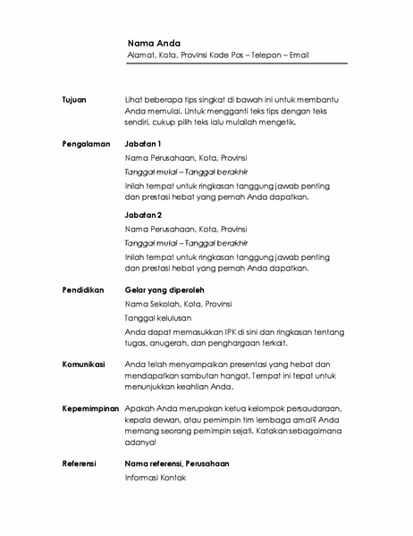 Resume kronologis (Desain Minimalis)