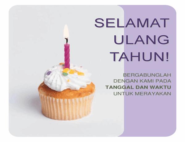 Selebaran undangan ulang tahun (dengan gambar cupcake)