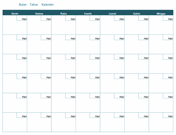 Kalender bulanan kosong