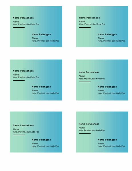 Label pengiriman (desain Gradien Hijau, 6 per halaman, dapat dicetak pada kertas Avery 5164)