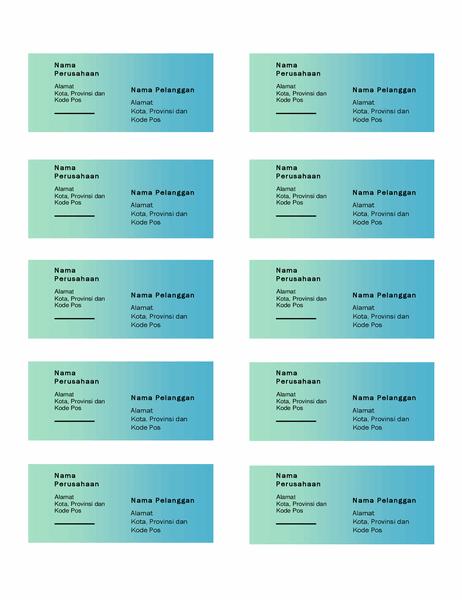 Label pengiriman (desain Gradien Hijau, 10 per halaman, dapat dicetak pada kertas Avery 5163)