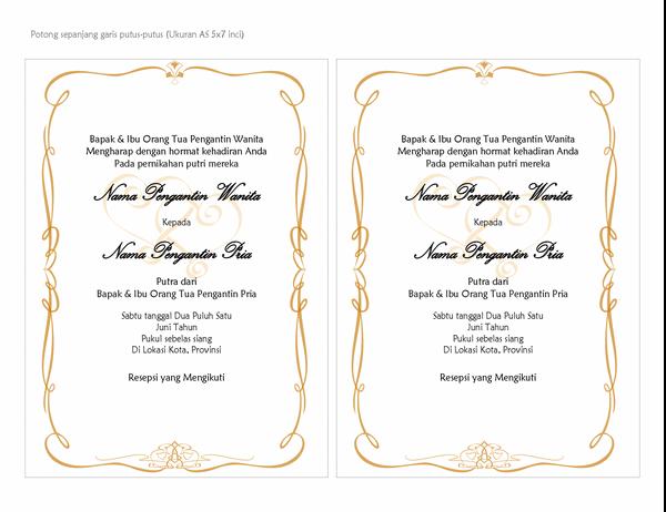 Undangan pernikahan (desain Heart Scroll, ukuran A7, 2 per halaman)