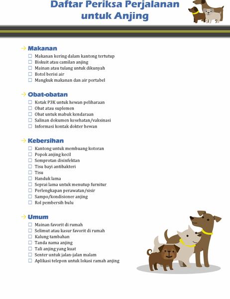 Daftar periksa perjalanan untuk anjing