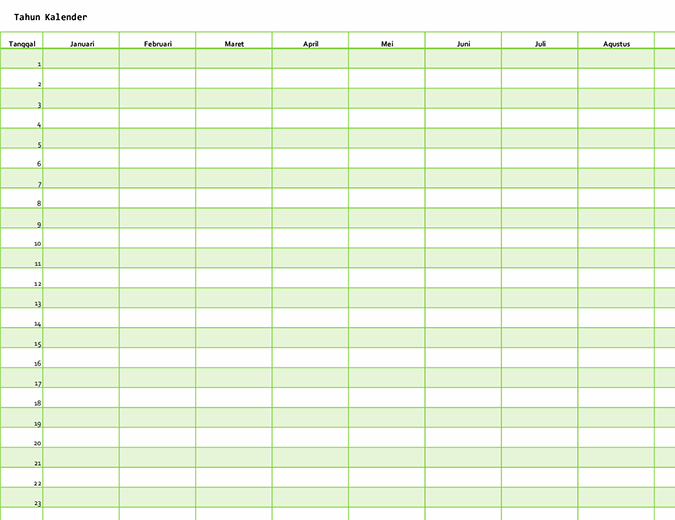 Kalender Semua Tahun (vertikal)