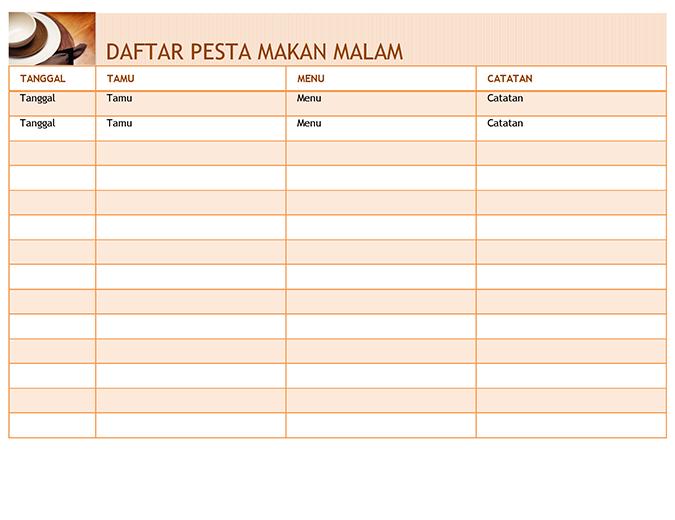 Daftar pesta makan malam dengan menu