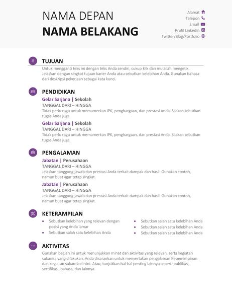 Resume Pelajar (Desain modern)